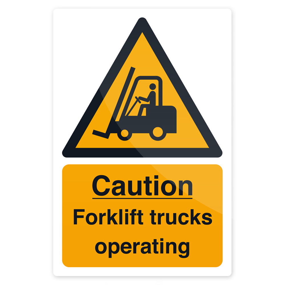 Caution Forklift Trucks Sign 200 X 300mm Rigid Signage