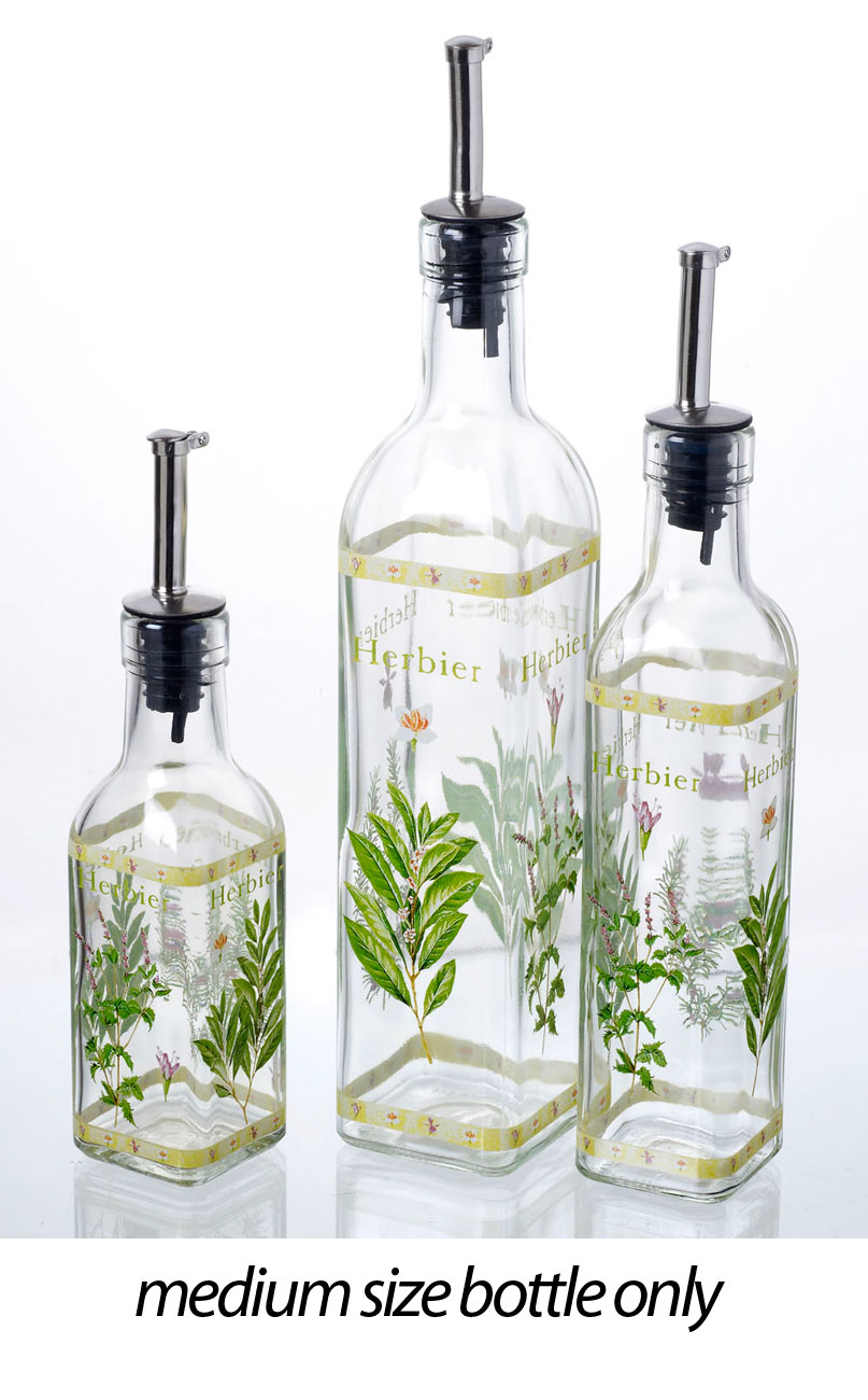 Unique Italian Herbs Glass Olive Cooking Oil Vinegar Bottle Pourer  KF68