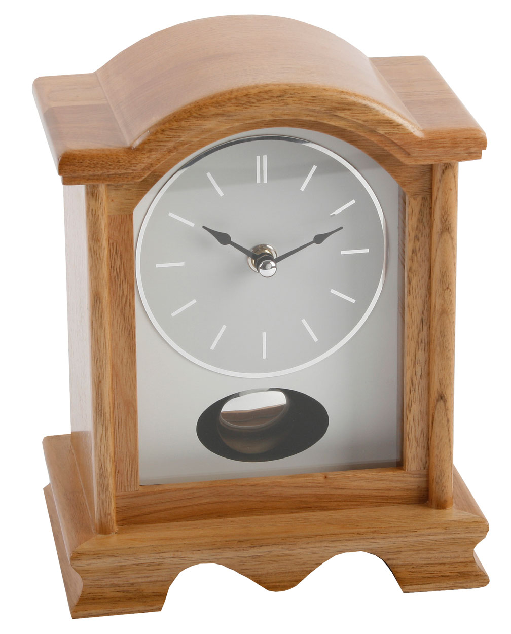 Modern natural light oak arch wood mantle clock moving swinging item specifics aloadofball Choice Image