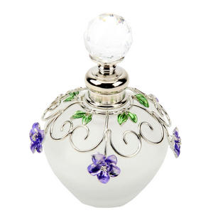 Wire and Epoxy Empty Perfume Bottle 79 Round Flower in Purple Preview