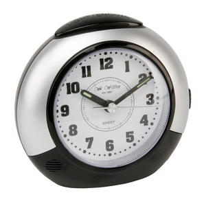 Black and Silver Alarm Clock with Snooze Function and Silent Sweep No Ticking and Light Preview