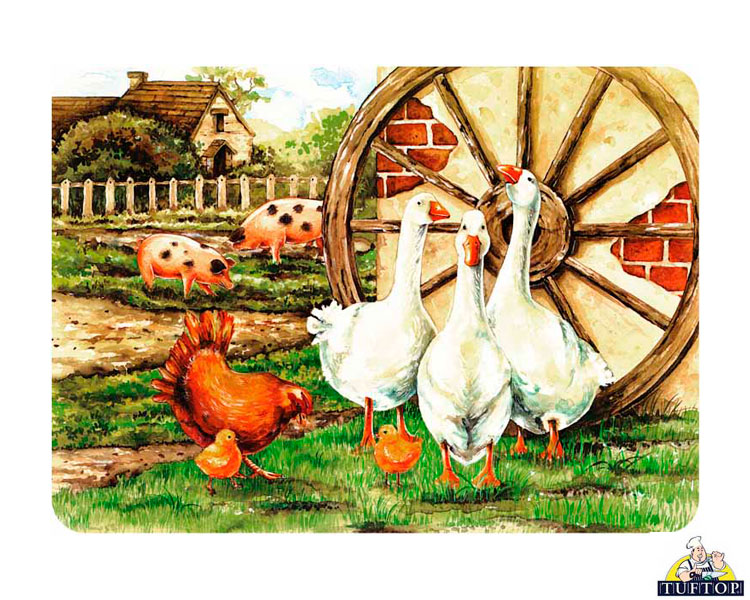 White Farm Animals Collage Glass Chopping Board Kitchen Worktop Saver Protector