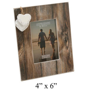 "Wedding Brown Wooden Vintage Frame with 2 Hearts 4""x6"" Preview"
