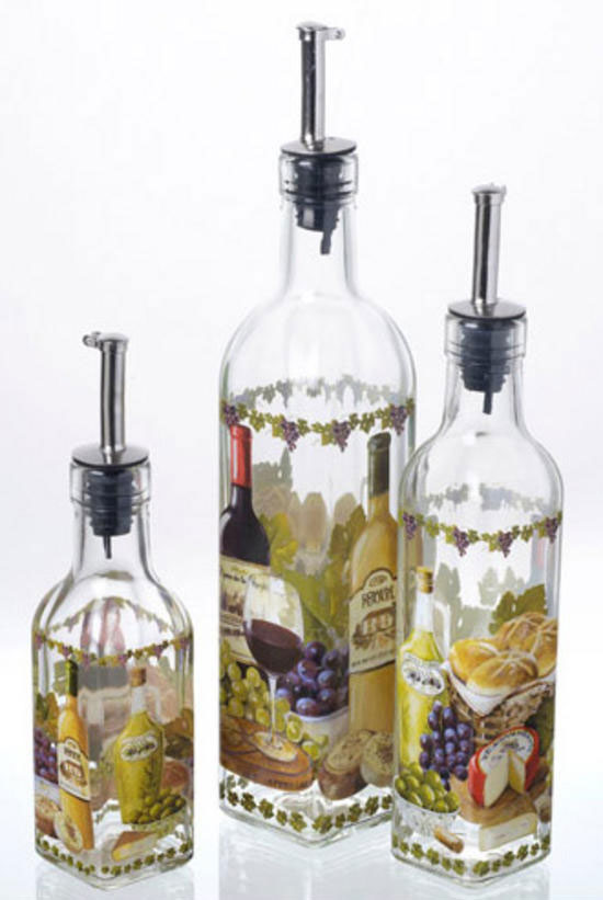 Decorative Italian Design Glass Olive Cooking Oil Vinegar