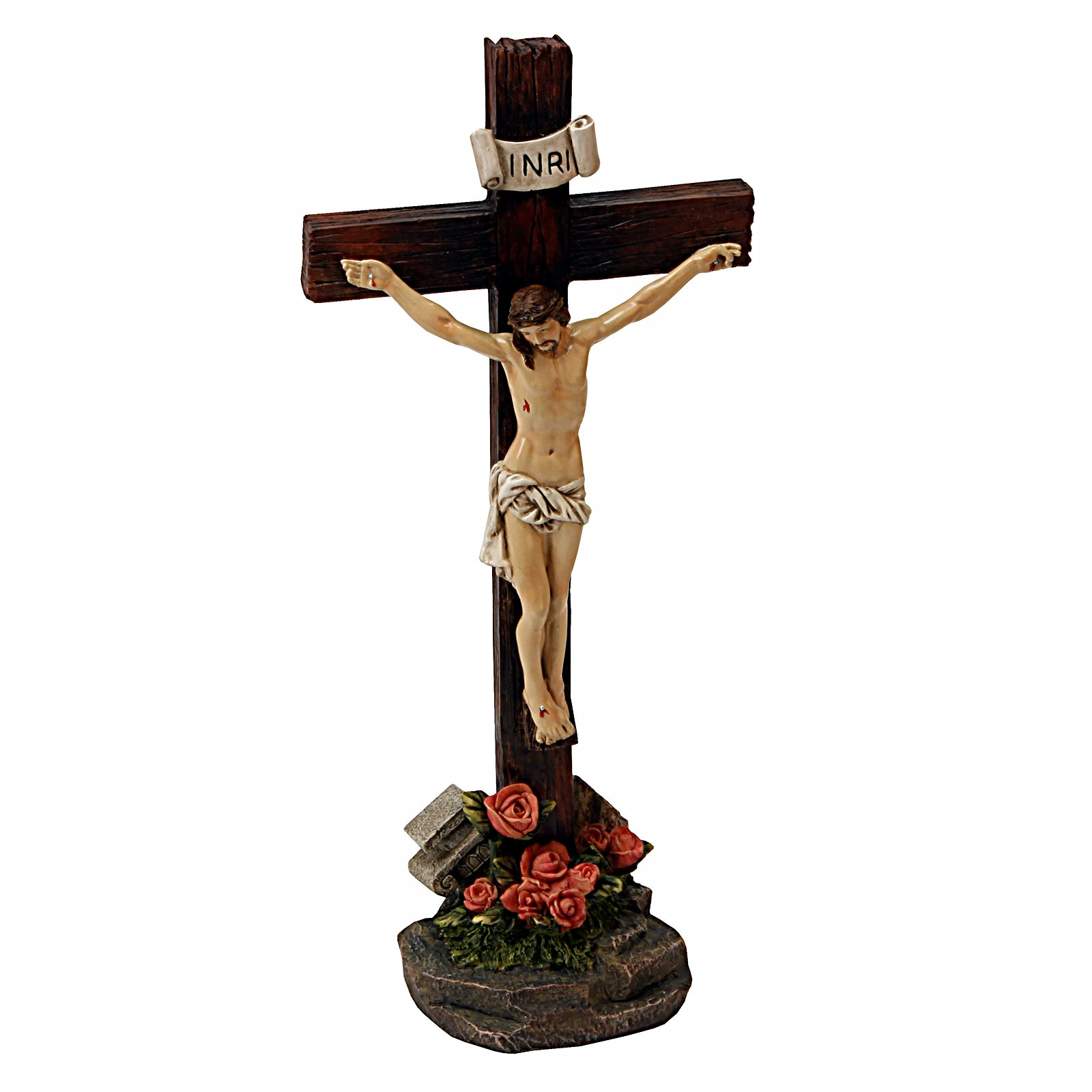 Religious Jesus On Cross Statue Christ Figurine Memorial ...