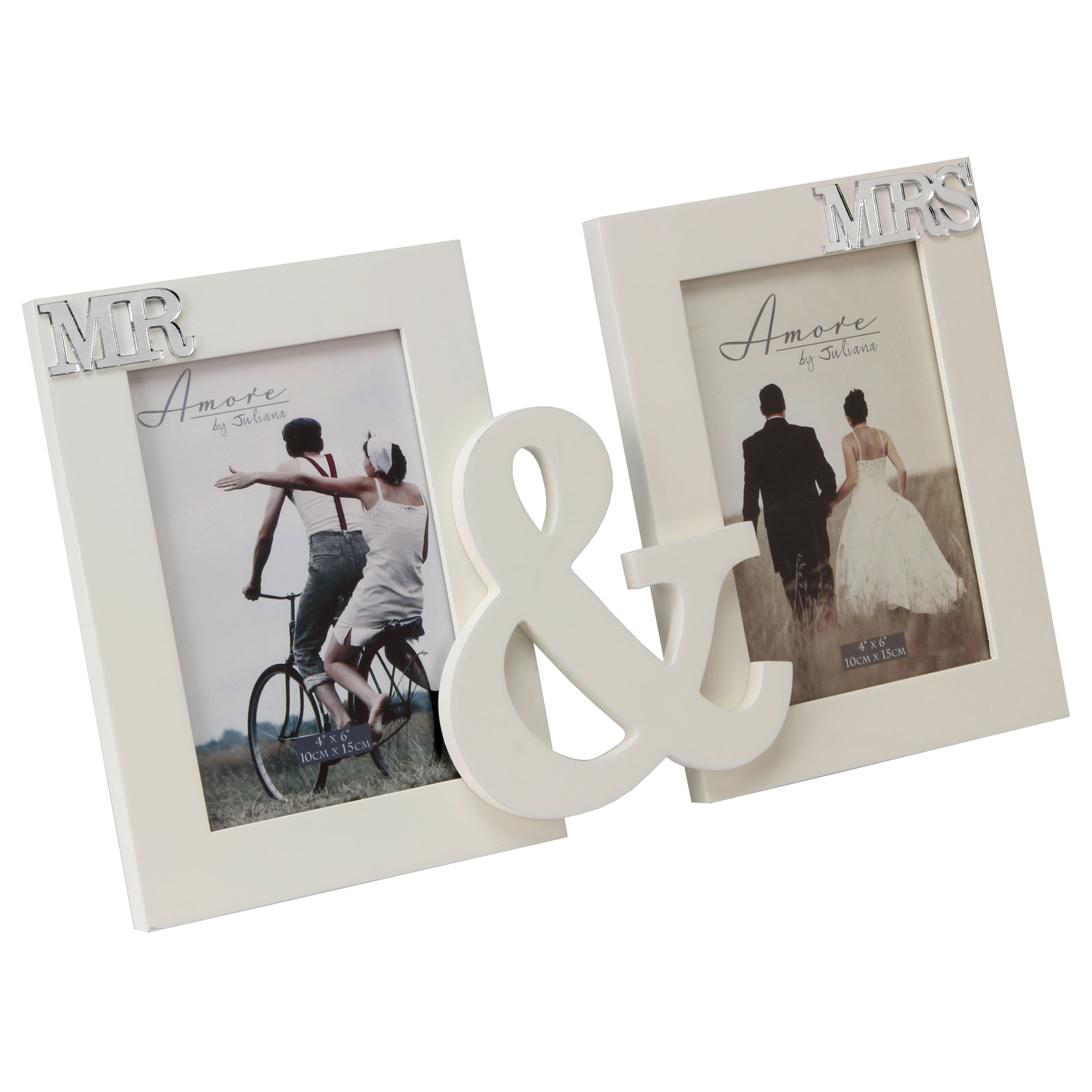 Amore Photo Frames Cream Wood Mr and Mrs Wedding Double Portrait ...