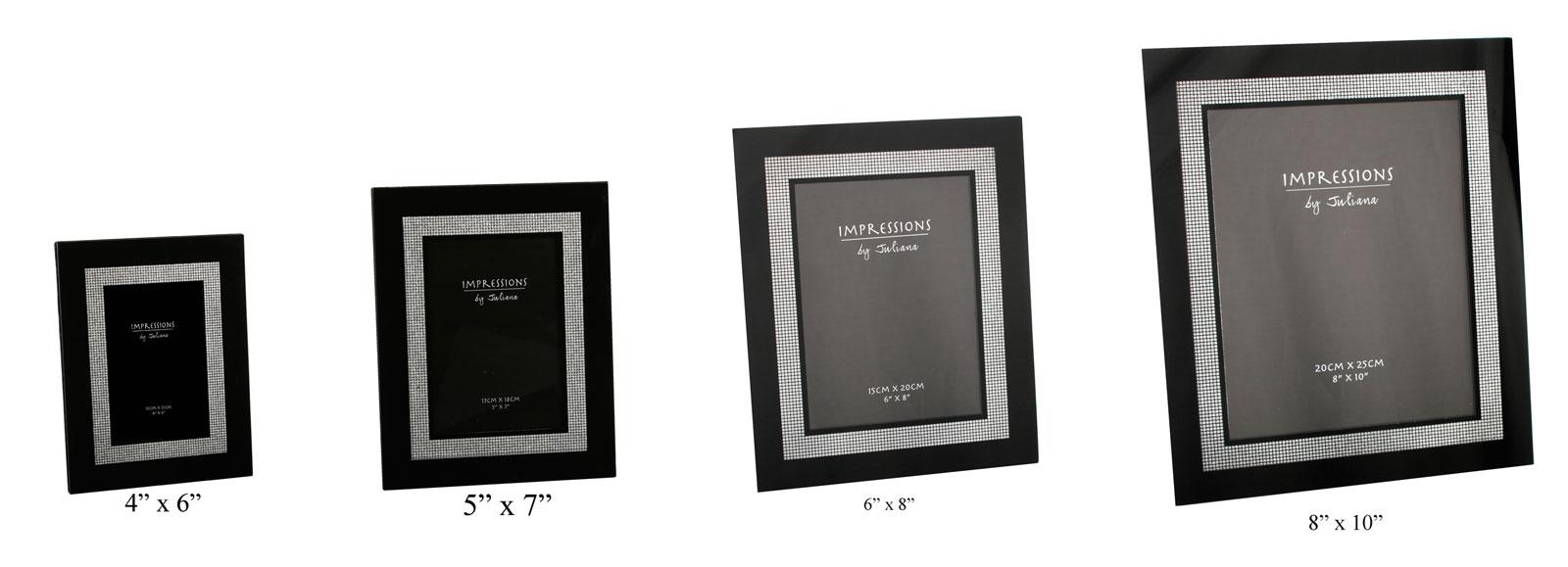 Modern Impressions Black Silver Inner Edge Diamante Glass Photo