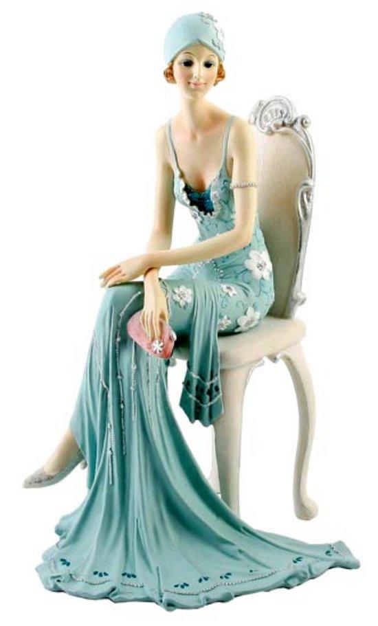 Art Deco Broadway Belles Lady Figurine Blue Teal Colour 79