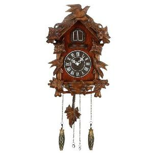 Good Bird Sound Wooden Cuckoo Wall Clock Forest Design with Hanging Pendulum Weights Preview