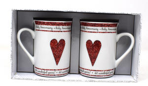 Fine Porcelain Ruby 40th Anniversary Pair Of Mugs Gift Set Preview