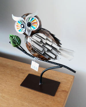 Hand Painted Metal Owl On Branch Gift Ornament Preview