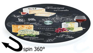 World of Cheese Glass Lazy Susan Turntable Serving Board by Easy Life Preview