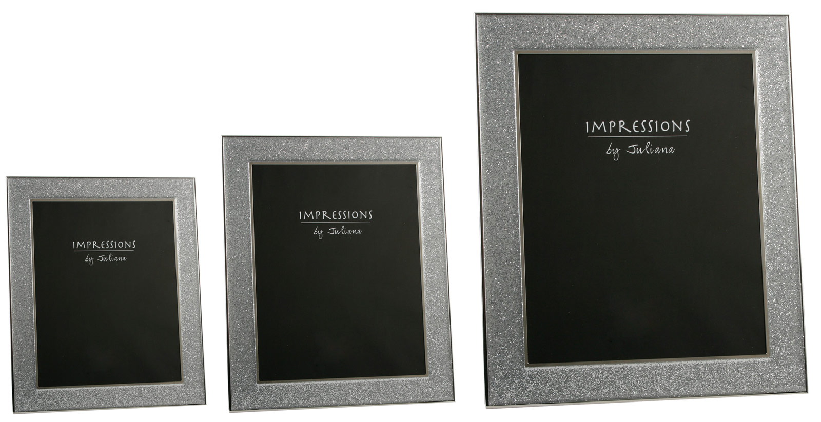 Sparkly Silver Glitter Glass Band Impressions Photo Picture Frames