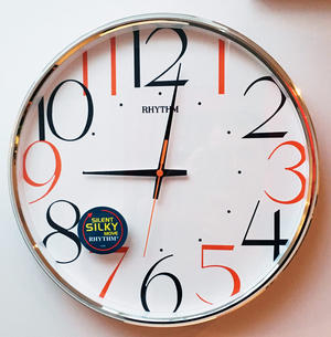 RHYTHM Wall Clock with Coloured Numbers Silent Sweep No Tick Preview