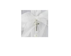 Silver Cross and Heart Motif Ribbon Christening Guest Book Preview