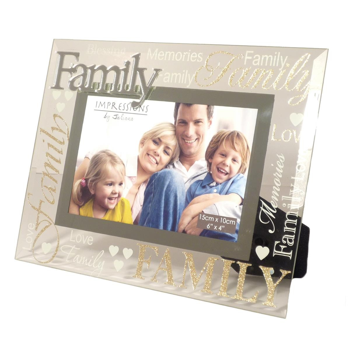 Modern Silver 3D Word Family Glass Glitter Photo Picture Frame Love ...