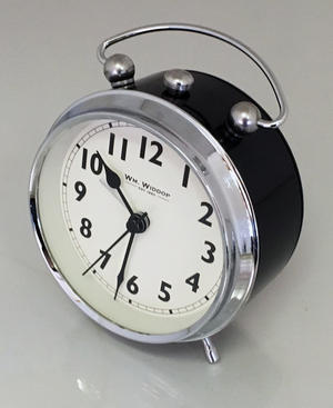 Vintage Retro Traditional Chunky Black Silver Beep Alarm Clock Bedroom  Bedside