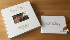 "Gold Foil Wedding Guest Book + Large 30cm 8x10"" Photo Album Collage Scrapbook Gift Set Preview"