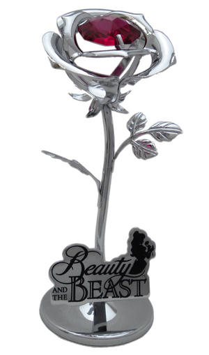 Disney Chrome Plated Small Rose Beauty And The Beast Gift Ornament Preview