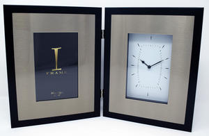 "iFrame Aluminium Mantel Clock + Photo Frame 4x6"" Preview"