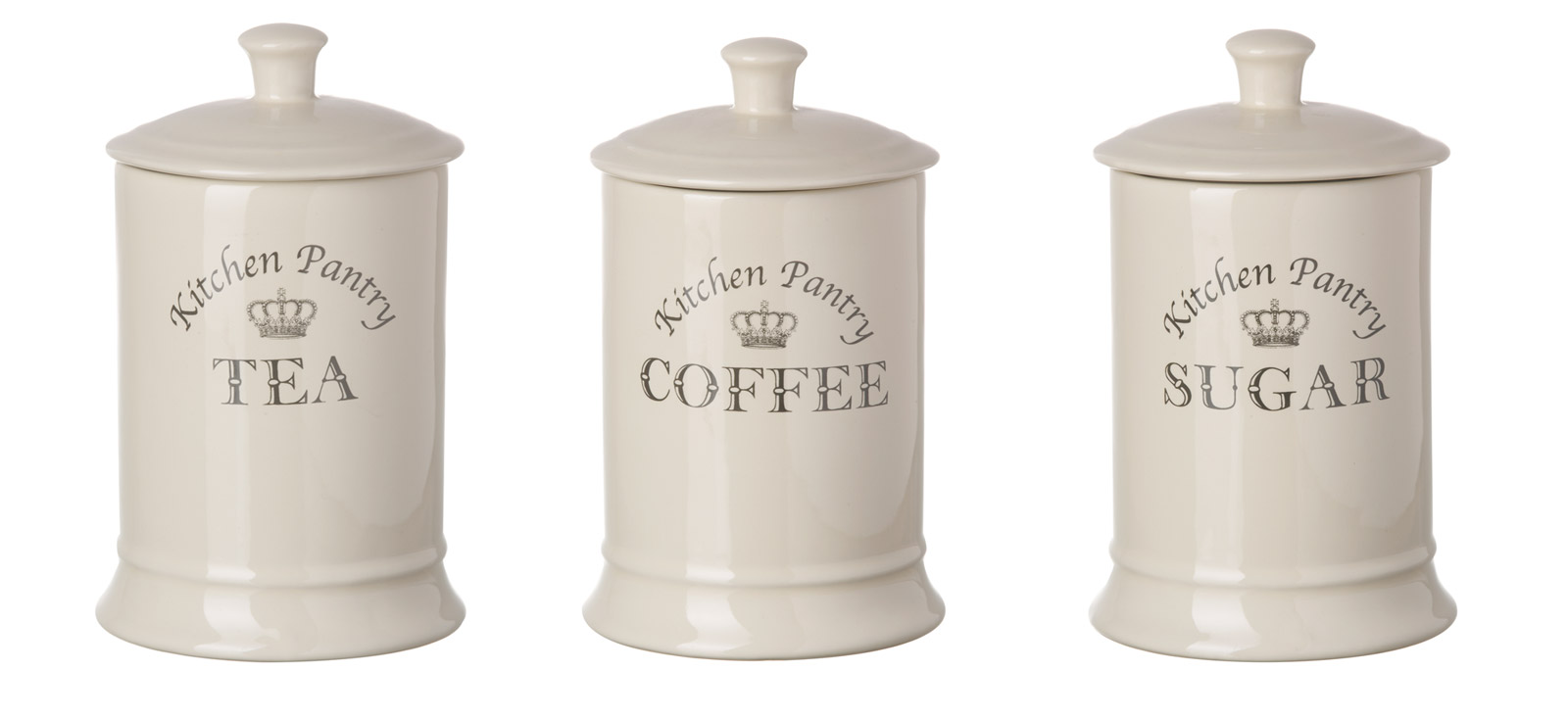 Details about majestic cream tea coffee sugar canisters set kitchen storage jar vintage royal