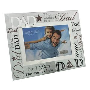 "Juliana Mirrored Words Dad 6x4"" Photo Frame Preview"