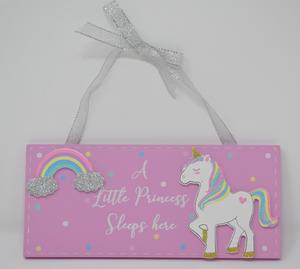 Unicorn Magic A Little Princess Sleeps Here Magic Unicorn Plaque Preview
