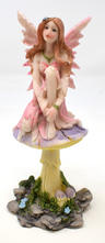 View Item Pink Fairy Gazer On A Toadstool Ornament Figurine