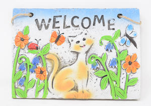 Welcome Hanging Wall Plaque Sign With A Cat, Bugs + Flowers Preview
