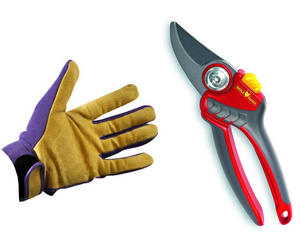 Premium Soft Grip Bypass Pruning Secateurs + Ladies Gardening Gloves Gift Set Preview