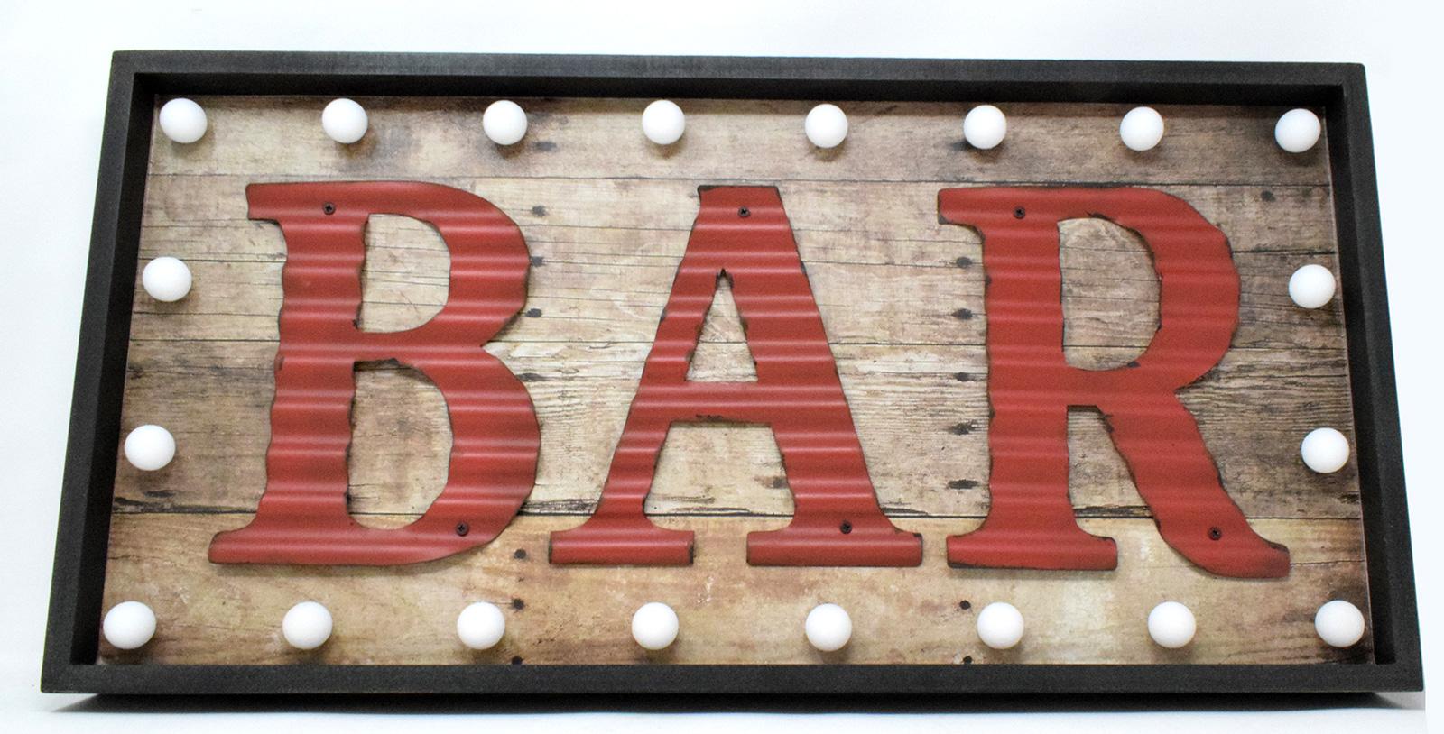 Large Retro Indoor LED Light Up Red Bar Sign Wooden