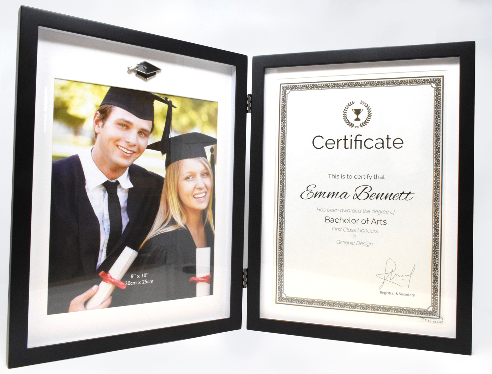 Black Graduation Photo Frame Certificate Holder Double Hinged Book ...
