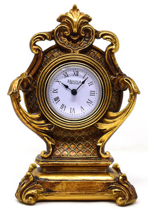 Small Ornate Antique Gold Gilt Baroque Style Mantel Clock Preview
