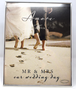 "Amore Silverplated Thin Frame 8"" x 10"" Our Mr + Mrs Wedding Day Preview"