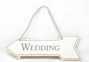 Cream Wedding Direction Arrow Wall Sign Preview