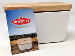 Limited Edition Bertolli White Melamine Butter Dish with Wood Lid Preview