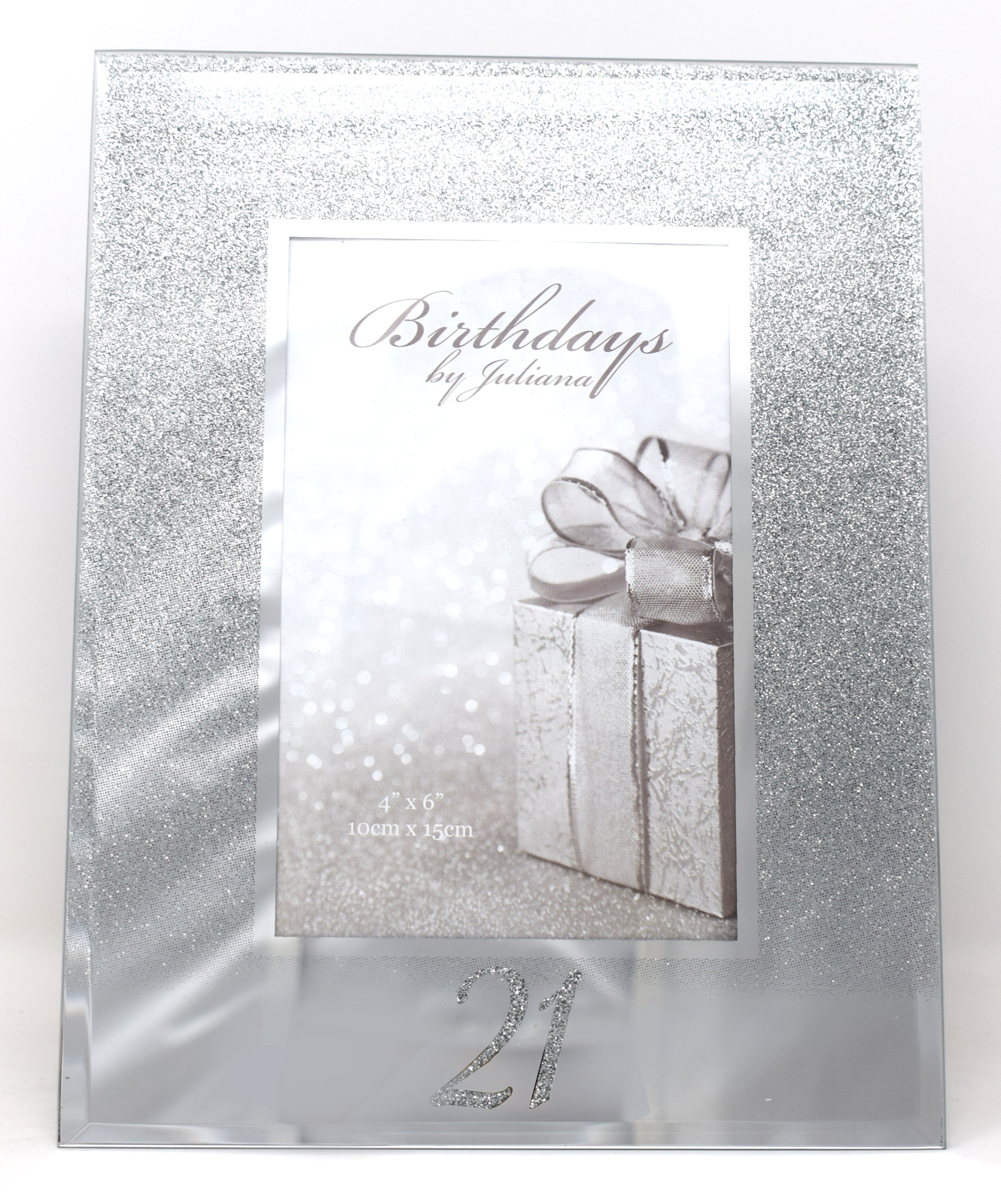 e224182087bb Details about 21st Birthday Silver Glitter Mirror Photo Picture Frame 4