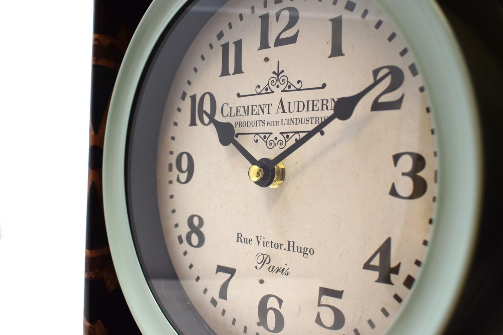 New Sage Green Wall Clock Industrial Deep Case Metal