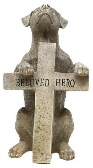 Stone Effect Dog Figurine + Cross Beloved Hero Memorial Preview