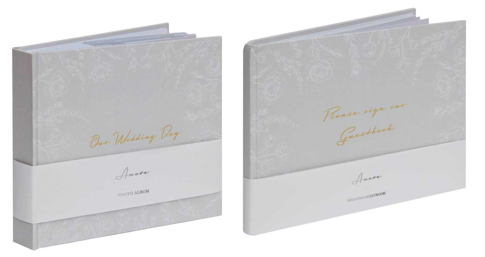Matching Our Wedding Day Slip In Photo Album 6x4 And Guest Book Set Grey Floral 5060455444618 Ebay