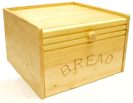 Large 12 Quot Wooden Bread Bin With Magnetic Drop Door