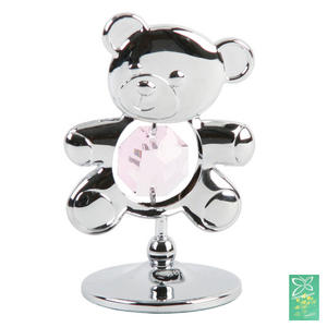 Crystocraft Freestanding Silver Teddy in Pink Crystal Gift Ornament Preview