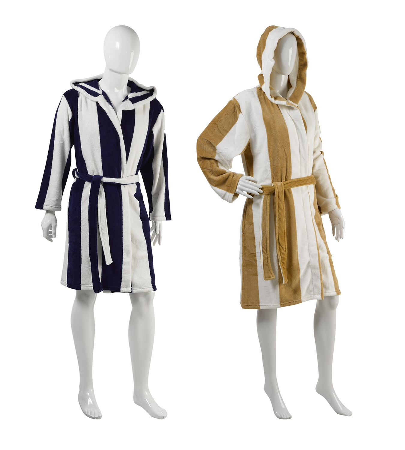 Ladies Mens Slenderella Striped Hooded Dressing Gown Soft Coral ...