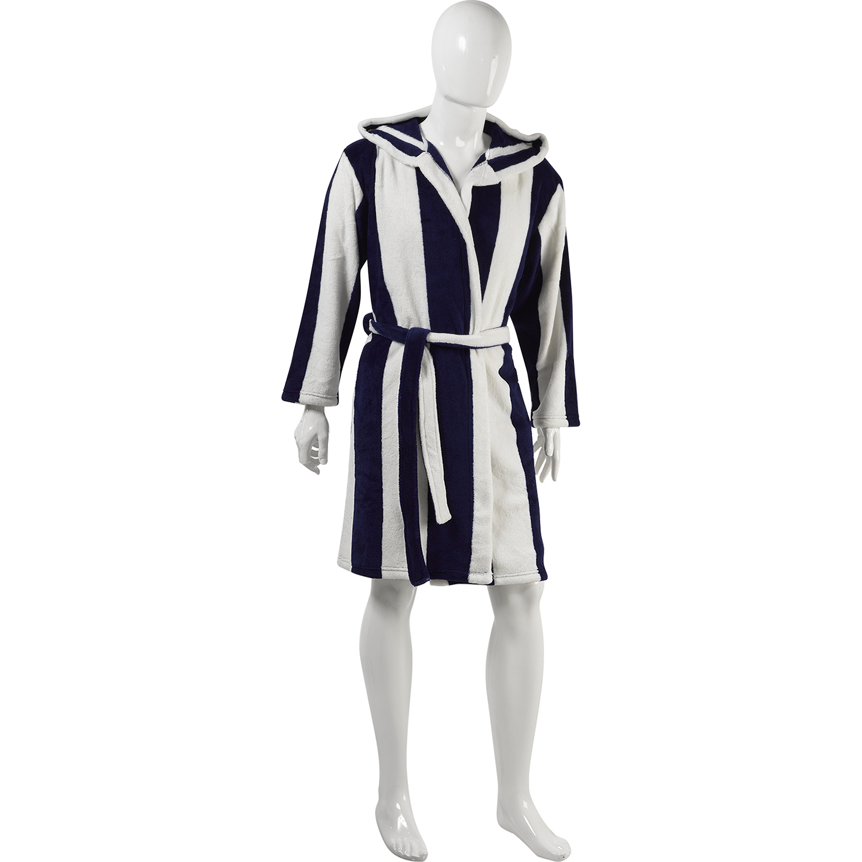 Slenderella Unisex Stripe Coral Fleece Hooded Dressing Gown Wrap Around Bathrobe Ebay