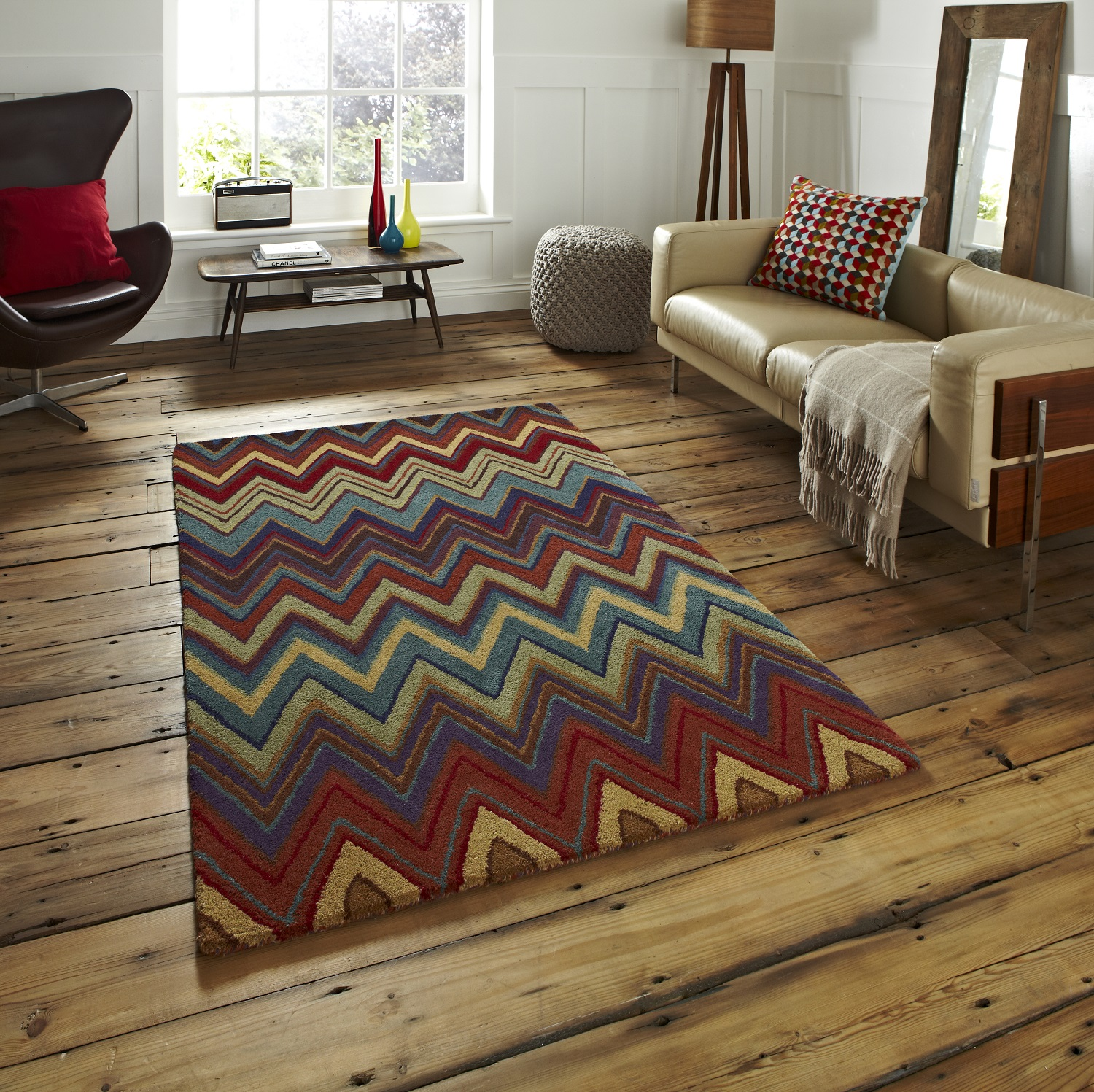 Details About Aztec Hand Tufted 100 Wool Rug Large Heavy Weight Zig Zag Multi Colour Mat Home
