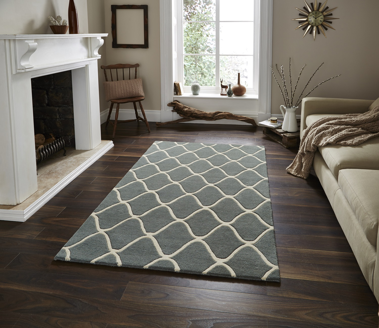 Wave Design Hand Tufted 100 Wool Rug Contemporary Home