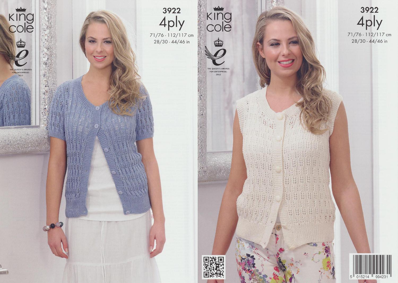 Ladies 4Ply Knitting Pattern King Cole Womens Summer Cardigan Bamboo ...