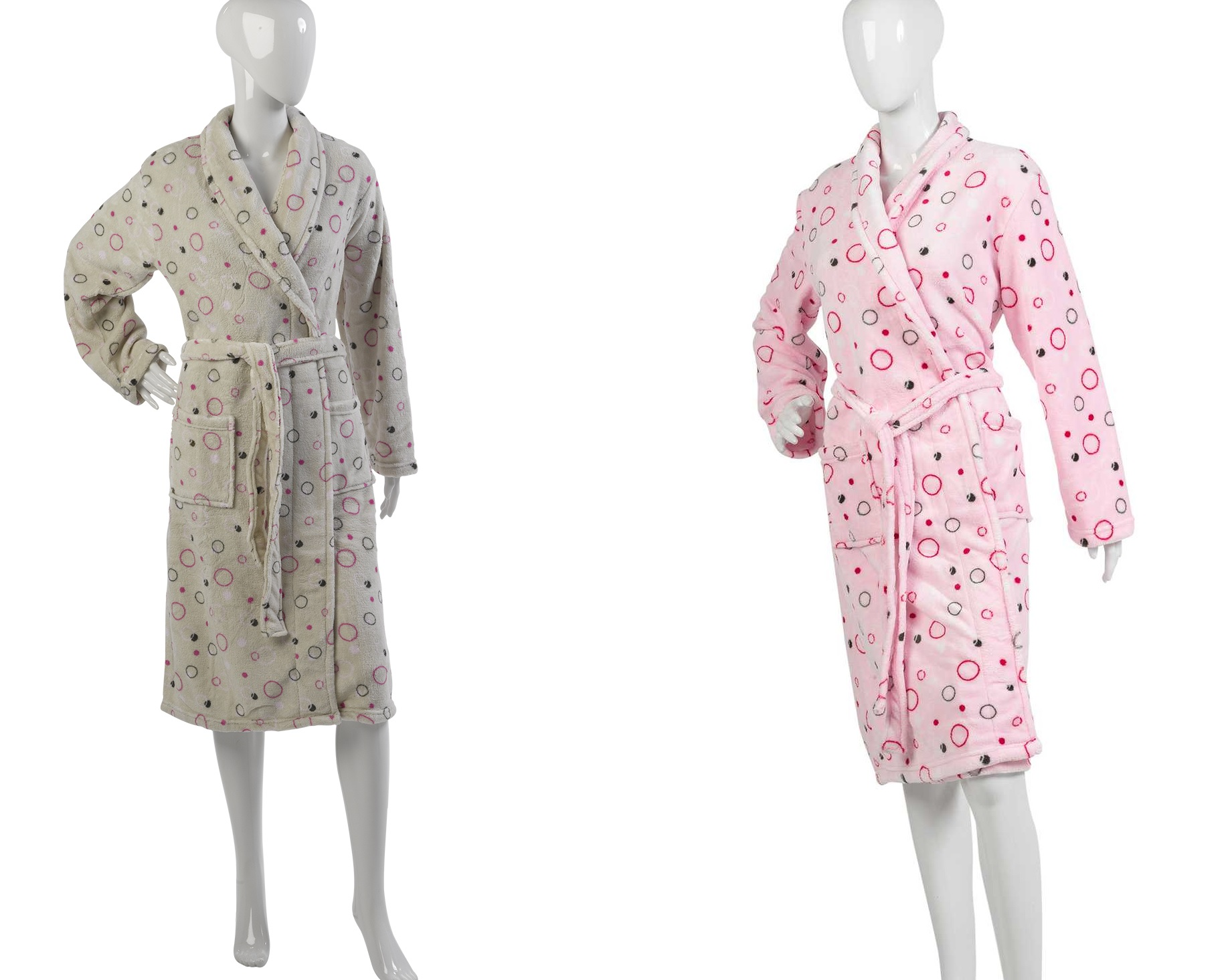 Details about Womens Spotty Dressing Gown Ladies Soft Polyester Coral  Fleece Circles Bath Robe e19f6c47a