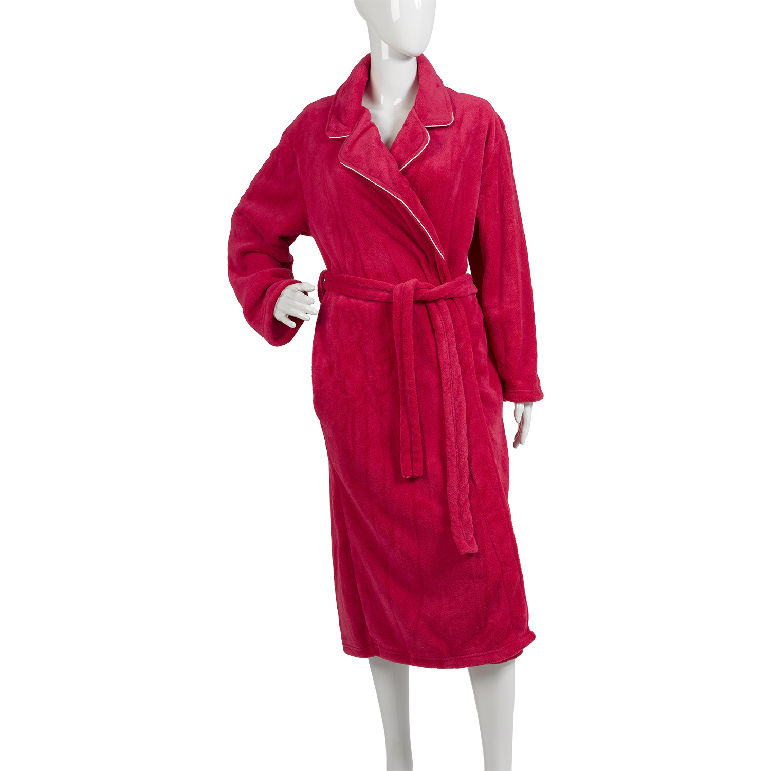 Womens Plain Satin Trim Dressing Gown Ladies Luxurious Coral Fleece