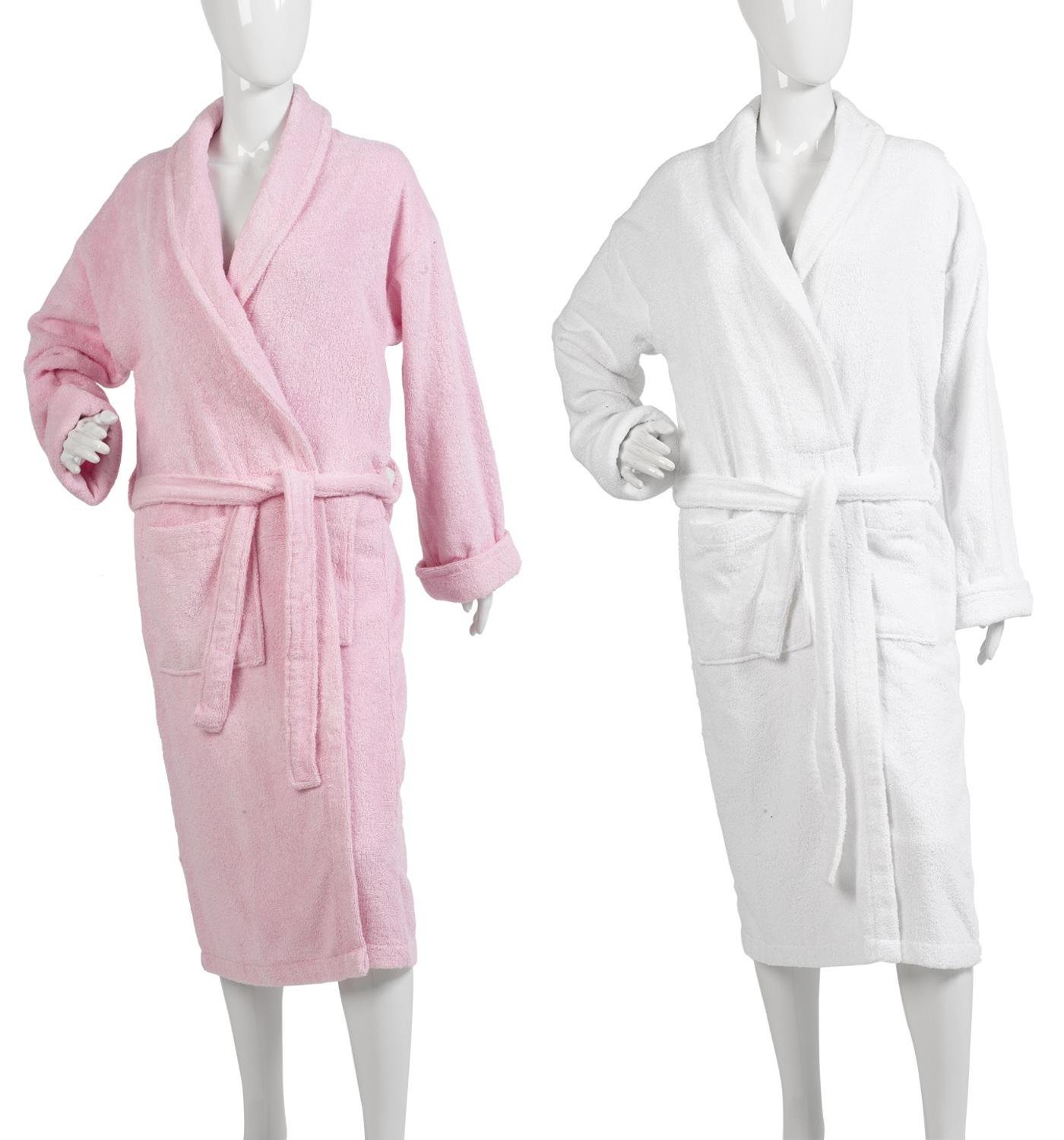 Womens Plain Towelling Dressing Gown Ladies 100% Cotton Wrap Around ...